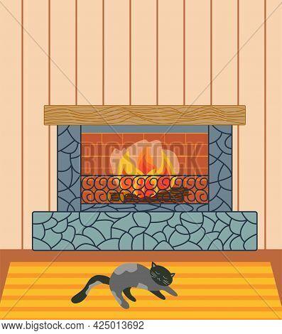 Home Inside Living Room Design Element. Fireplace, Cat