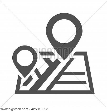 Monochrome Destination Icon Vector Flat Illustration City Cartography With Pin Gps Smart Direction