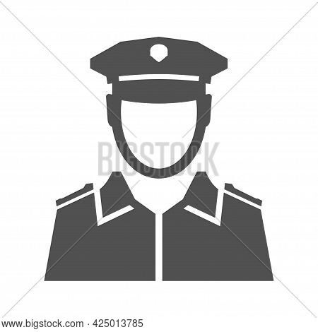 Monochrome Simple Police Officer Icon Vector Flat Illustration. Portrait Of Policeman In Uniform
