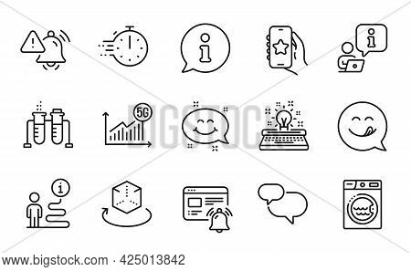 Technology Icons Set. Included Icon As 5g Statistics, Laundry, Chemistry Beaker Signs. Favorite App,