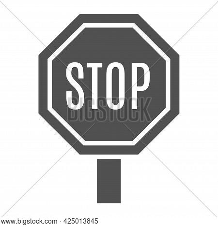 Monochrome Stop Sign Icon Vector Illustration. Traffic Regulation Warning. No Movement For Driver
