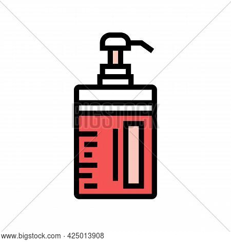 Conditioner Keratin Bottle With Pump Color Icon Vector. Conditioner Keratin Bottle With Pump Sign. I