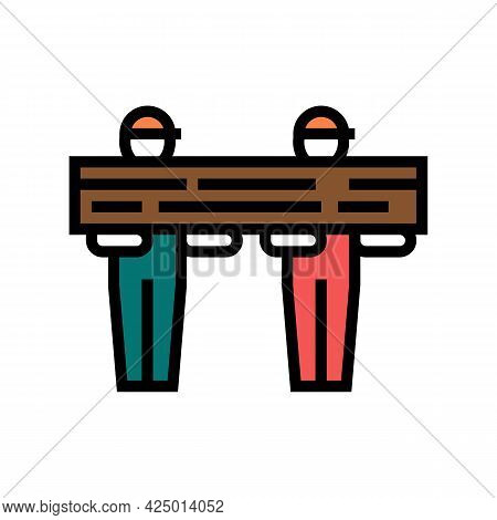 Worker Carrying Wooden Timber Color Icon Vector. Worker Carrying Wooden Timber Sign. Isolated Symbol