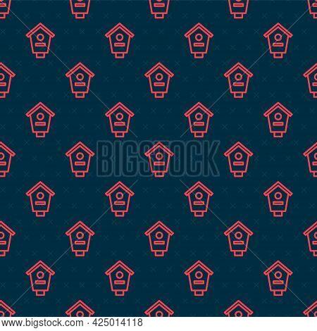 Red Line Bird House Icon Isolated Seamless Pattern On Black Background. Nesting Box Birdhouse, Homem