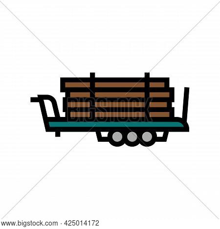 Trailer With Wood Timber Color Icon Vector. Trailer With Wood Timber Sign. Isolated Symbol Illustrat