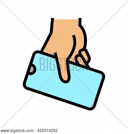 Hand Hold Cellphone Color Icon Vector. Hand Hold Cellphone Sign. Isolated Symbol Illustration