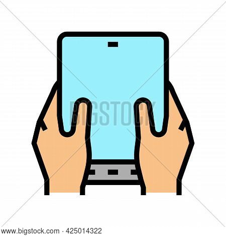 User Playing On Flexible Smartphone Screen Color Icon Vector. User Playing On Flexible Smartphone Sc