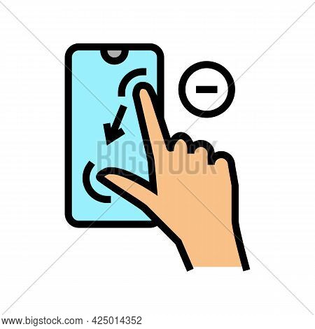 Zoom Out Gesture Phone Screen Color Icon Vector. Zoom Out Gesture Phone Screen Sign. Isolated Symbol