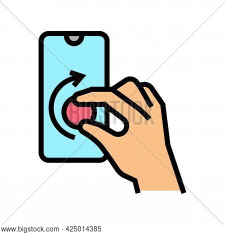 Turning Digital Button On Smartphone Screen Color Icon Vector. Turning Digital Button On Smartphone