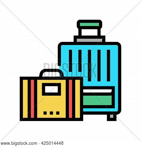 Luggage For Summer Travel Vacation Color Icon Vector. Luggage For Summer Travel Vacation Sign. Isola