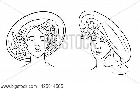 Girl In A Hat Abstraction. Girl With Roses On A Headdress. Line Style.