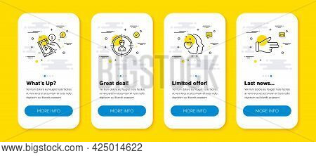 Vector Set Of Headhunting, Payment Method And Heart Line Icons Set. Ui Phone App Screens With Line I