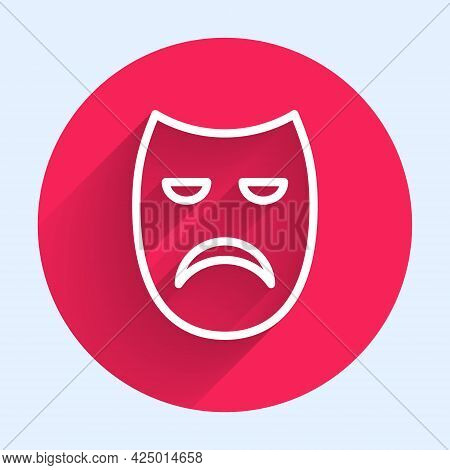 White Line Drama Theatrical Mask Icon Isolated With Long Shadow. Red Circle Button. Vector