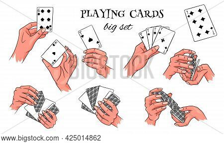 Gambling. Playing Cards In Hand. Casino, Fortune, Luck. Big Set. Cartoon Style.