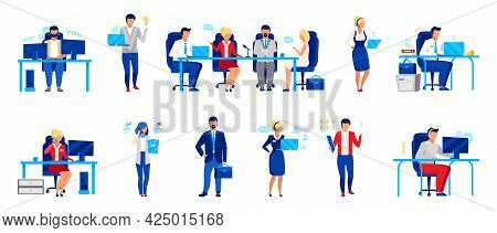 Business Company Staff Flat Vector Illustrations Set. Programmer, Directors Board, Analyst. Workers