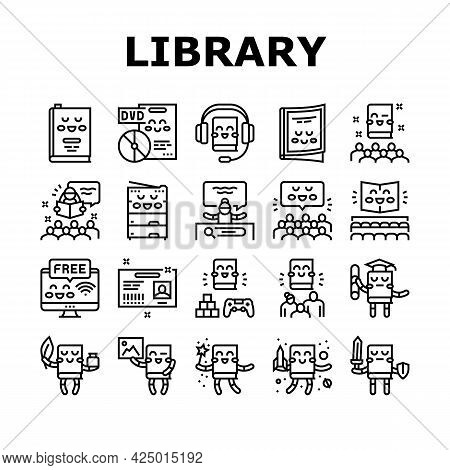 Children Library Read Collection Icons Set Vector. Children Library Reading Material And Activity, E