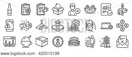Set Of Business Icons, Such As Eye Checklist, Headhunting, Video Conference Icons. Megaphone Checkli