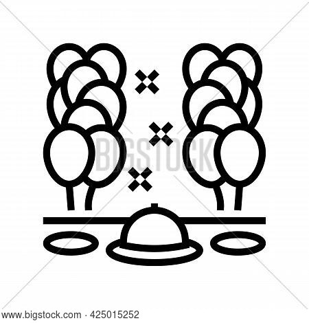Dinner Party Balloon Decoration Line Icon Vector. Dinner Party Balloon Decoration Sign. Isolated Con