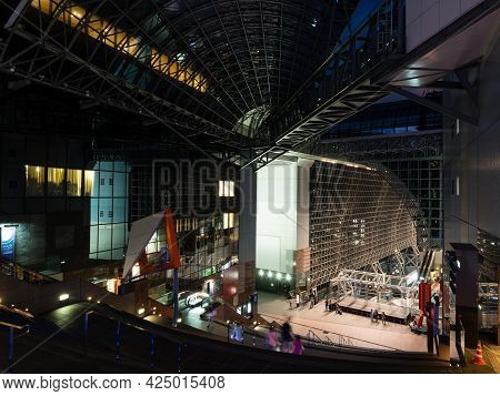 Kyoto, Japan - August 21, 2018: Nighttime View Of Kyoto Station Building
