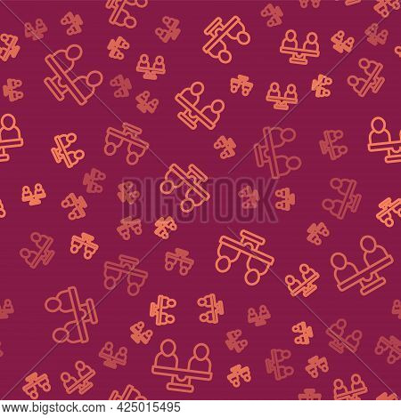Brown Line Gender Equality Icon Isolated Seamless Pattern On Red Background. Equal Pay And Opportuni