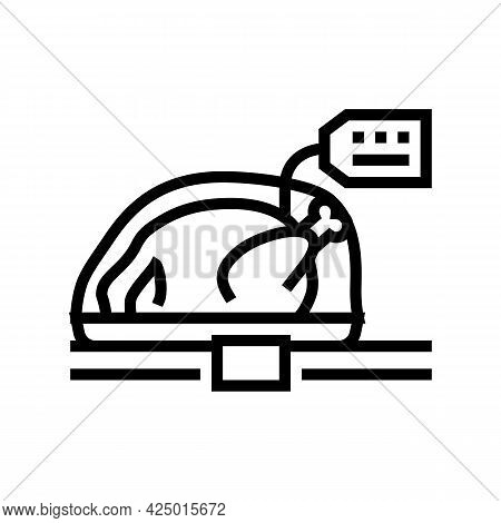 Chicken Carcass In Package On Market Counter Line Icon Vector. Chicken Carcass In Package On Market