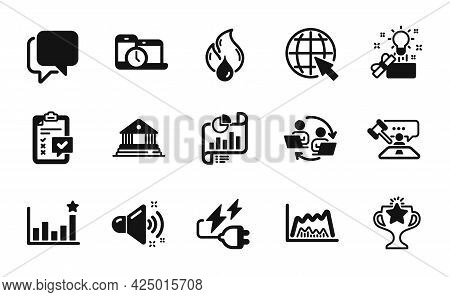 Vector Set Of Internet, Creative Idea And Trade Chart Icons Simple Set. Victory, Loud Sound And Judg