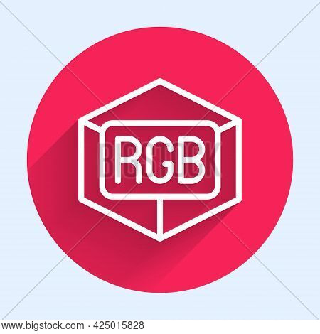 White Line Rgb And Cmyk Color Mixing Icon Isolated With Long Shadow. Red Circle Button. Vector
