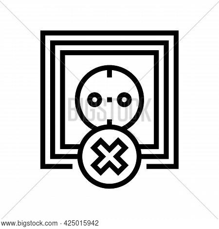 Socket Use Prohibition Kids Line Icon Vector. Socket Use Prohibition Kids Sign. Isolated Contour Sym