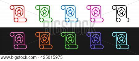 Set Line Magic Scroll Icon Isolated On Black And White Background. Decree, Paper, Parchment, Scroll