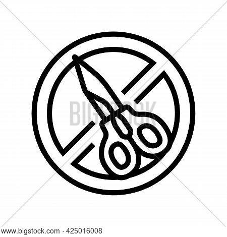 Scissor Use Prohibition Sign Line Icon Vector. Scissor Use Prohibition Sign Sign. Isolated Contour S