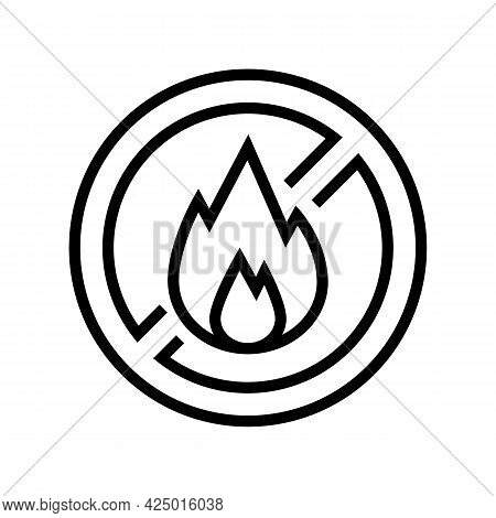 Fire Burning Prohibition Sign Line Icon Vector. Fire Burning Prohibition Sign Sign. Isolated Contour