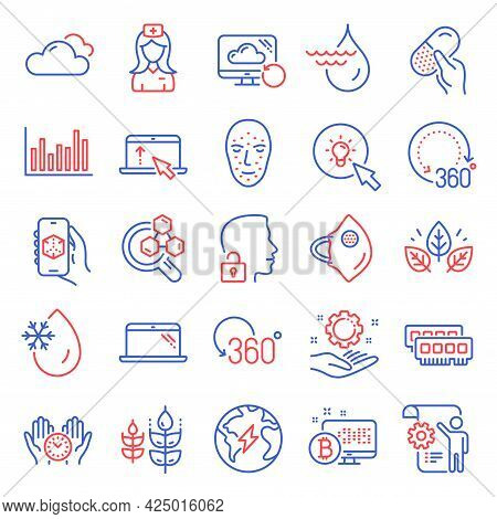 Science Icons Set. Included Icon As 360 Degrees, Recovery Cloud, Unlock System Signs. Cloudy Weather