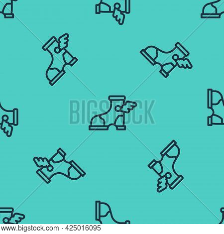 Black Line Hermes Sandal Icon Isolated Seamless Pattern On Green Background. Ancient Greek God Herme