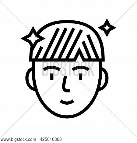 Man After Keratin Used Line Icon Vector. Man After Keratin Used Sign. Isolated Contour Symbol Black