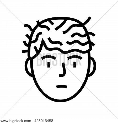 Woman Before Keratin Use Line Icon Vector. Woman Before Keratin Use Sign. Isolated Contour Symbol Bl