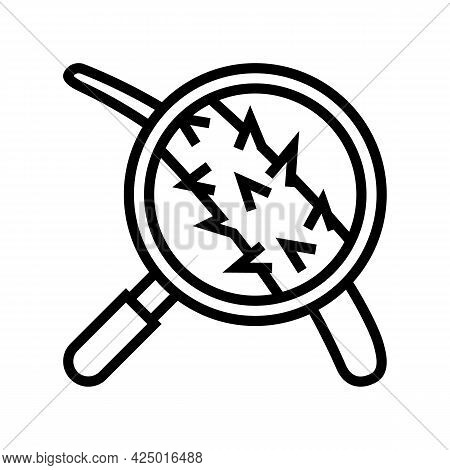 Damage Hair Researching Line Icon Vector. Damage Hair Researching Sign. Isolated Contour Symbol Blac