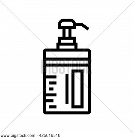 Conditioner Keratin Bottle With Pump Line Icon Vector. Conditioner Keratin Bottle With Pump Sign. Is