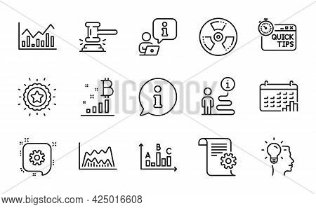 Education Icons Set. Included Icon As Trade Chart, Chemical Hazard, Quick Tips Signs. Winner Star, I