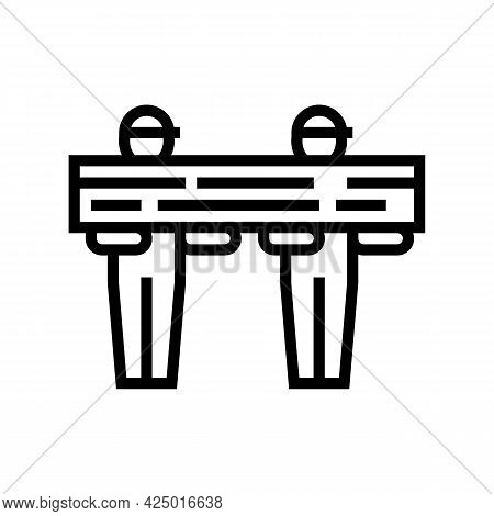 Worker Carrying Wooden Timber Line Icon Vector. Worker Carrying Wooden Timber Sign. Isolated Contour