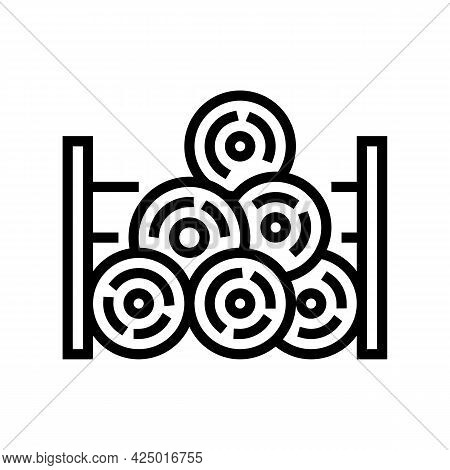 Wooden Timber Storage Line Icon Vector. Wooden Timber Storage Sign. Isolated Contour Symbol Black Il