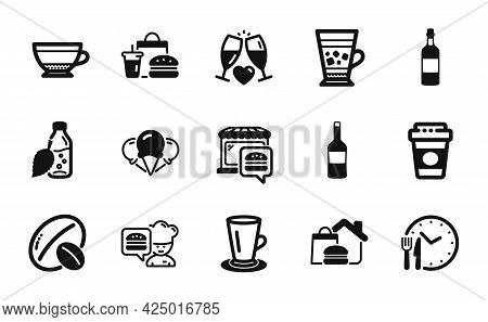 Vector Set Of Teacup, Water Bottle And Wine Icons Simple Set. Food Delivery, Frappe And Dry Cappucci