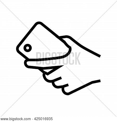 Hand Carrying Smartphone Line Icon Vector. Hand Carrying Smartphone Sign. Isolated Contour Symbol Bl