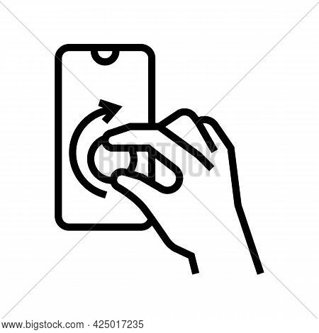 Turning Digital Button On Smartphone Screen Line Icon Vector. Turning Digital Button On Smartphone S