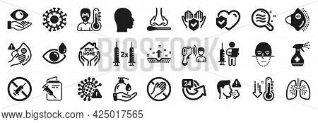 Set Of Medical Icons, Such As Insurance Hand, Coronavirus, No Vaccine Icons. Electronic Thermometer,