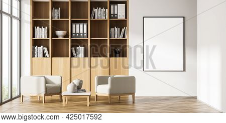 Empty Mock Up Poster On The Beige Wall In Panoramic Office Interior. Wooden Book Cabinet. Two Beige