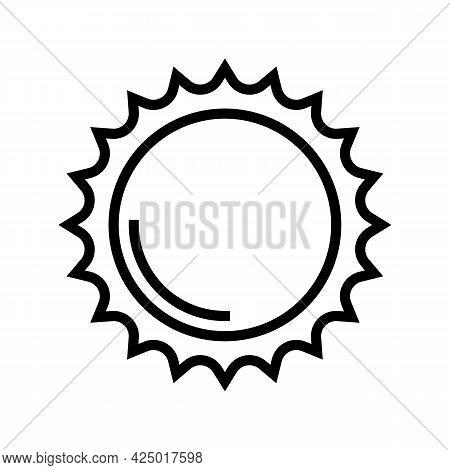 Shining Sun Summer Line Icon Vector. Shining Sun Summer Sign. Isolated Contour Symbol Black Illustra