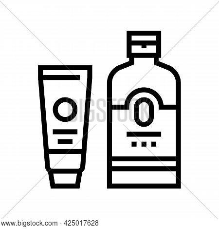 Sunscreen Summer Skin Care Cream Line Icon Vector. Sunscreen Summer Skin Care Cream Sign. Isolated C