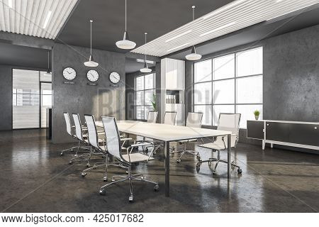 Corner Of Panoramic Office With Concrete And Dark Grey Decorations. Three Partition Walls With Cabin