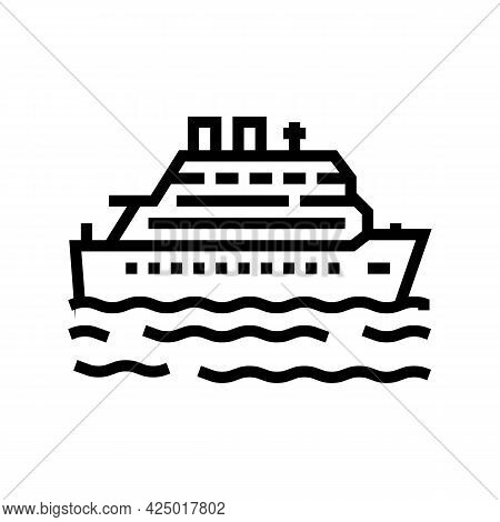 Cruise Summer Vacation Line Icon Vector. Cruise Summer Vacation Sign. Isolated Contour Symbol Black
