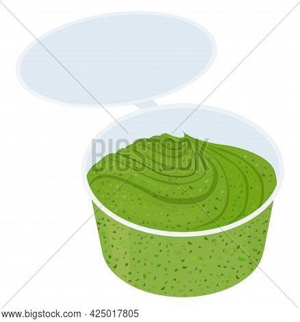 Green Pesto Sauce In Small Plastic Bowl On White Background, Delicious Cartoon Food Condiment. Vecto